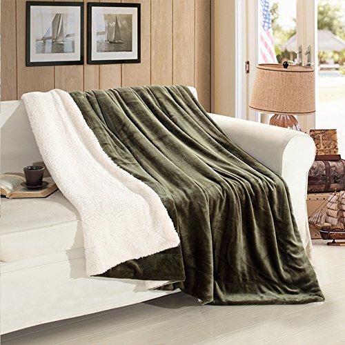 Fasisa Throw Blanket - Super Soft Fuzzy Reversible Flannel Fleece Sherpa - 210 GSM Lightweight Bed Throw (50