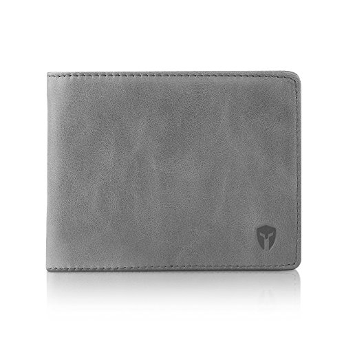 - 2 ID Window RFID Wallet for Men, Bifold Top Flip, Extra Capacity Travel Wallet (Slate Gray - Distressed Leather, Medium)