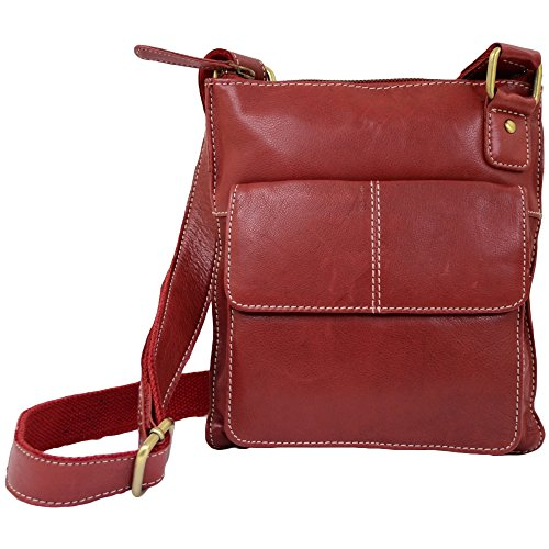Snugrugs Ladies Butter Soft Premium Leather Cross Body Bag with Adjustable Shoulder Strap (Red )