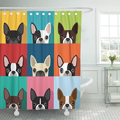 TOMPOP Shower Curtain Brown Fun Boston Terrier Pattern Full Color Flat Human Waterproof Polyester Fabric 60 x 72 Inches Set with Hooks