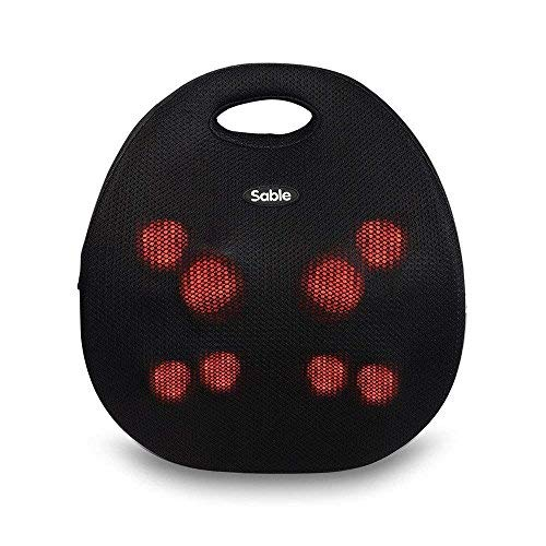 Sable Portable Back Massager with Heat, Shiatsu Electric Massaging Cushion Easy One-Button Control Neck Massager for Home, Office, Car Use