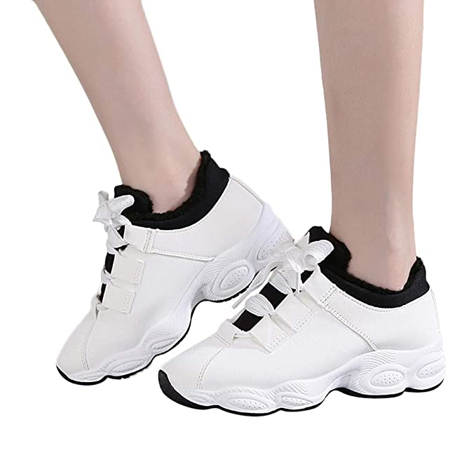 Bestow Zapatillas de Mujer con Plataforma con Cordones de Cuero y Terciopelo Inferiores Zapatillas de Deporte: Amazon.es: Ropa y accesorios