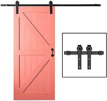 5.0FT (1,5 M) for puertas corredizas con material rodante ferroviario de Kit, Deslizar Kit de hardware de puerta de granero, correderas armario individual Kit, Fit sola puerta, acero al carbono: Amazon.es: Bricolaje