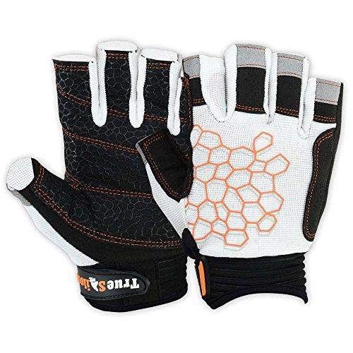 MRX BOXING & FITNESS Sailing Gloves Sticky Palm Gripy Glove Yachting Kayak Dinghy Fishing Short Finger Multi Colors (Black/White/Orange, M)