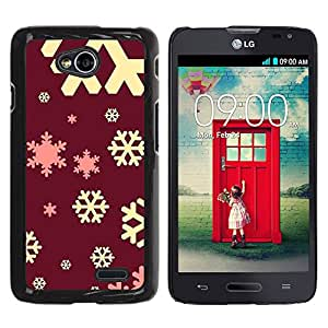 For LG Optimus L70 / LS620 / D325 / MS323 Case , Yellow Pink Red Winter Christmas - Diseño Patrón Teléfono Caso Cubierta Case Bumper Duro Protección Case Cover Funda