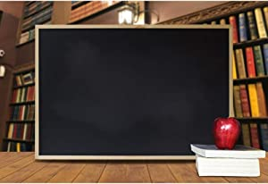 CSFOTO 5x3ft Back to School Backdrop Blackboard Bookshelf Apple Decor Online Teaching Background for Photography School Classroom Backdrop Homecoming Student Children Photo Background