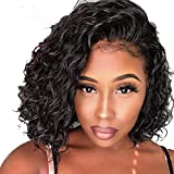 Short Full Lace Human Hair Wigs With Baby Hair For Blace Women Pre Plucked Hairline Brazilian Virgin Lace Front Human Hair Wigs 8''-16'' Loose Curly Hair Natural Color (Lace Front Wig 8)