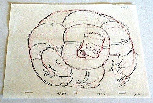 Simpson Animation Bart - Simpsons Bart Simpson Animation Drawing Original Art Pencil Red Line Sketch Whoa
