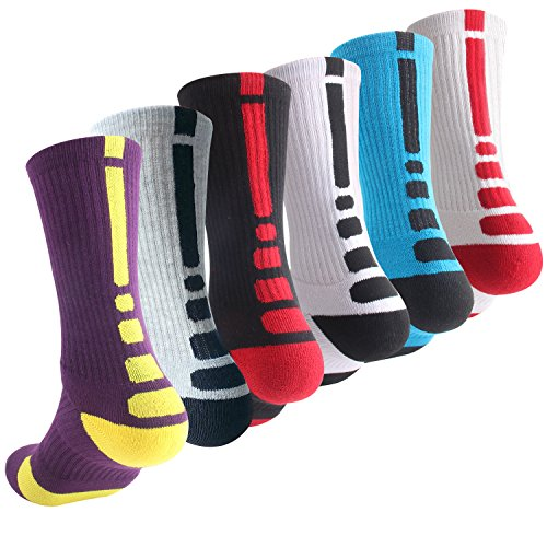 Boys Athletic Basketball Socks Youth Elite Sport Hiking Outdoor Crew Sock 6 Pack B