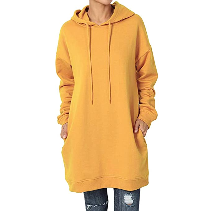 Amazon.com: Hooded Solid Color Sweater Women Casual Long Sleeve Pullover Tops Sweatshirt Mini Dress: Clothing