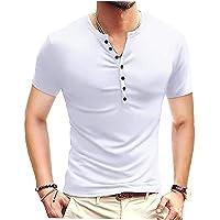 EElabper Camiseta de los hombres de algodón mezclado con cuello en V manga corta botón slim casual Tee negro S