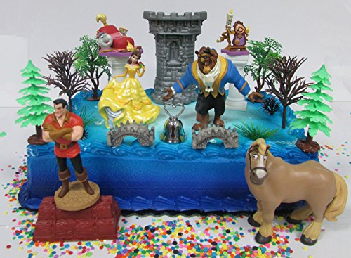 Beauty and the Beast Birthday Cake Topper Set Featuring Belle, The Beast and Other Decorative Themed Accessories