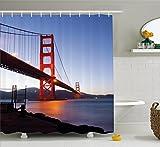 Ambesonne Cityscape Shower Curtain, San Francisco Bridge USA City View Golden Gate Traveling Destination, Fabric Bathroom Decor Set with Hooks, 70 inches, Orange Violet Blue