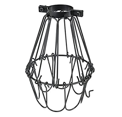 Industrial Vintage Style Black Hanging Pendant Light Fixture Metal Wire Cage , Lamp Guard, Adjustable Cage Openings to Different Styles ...