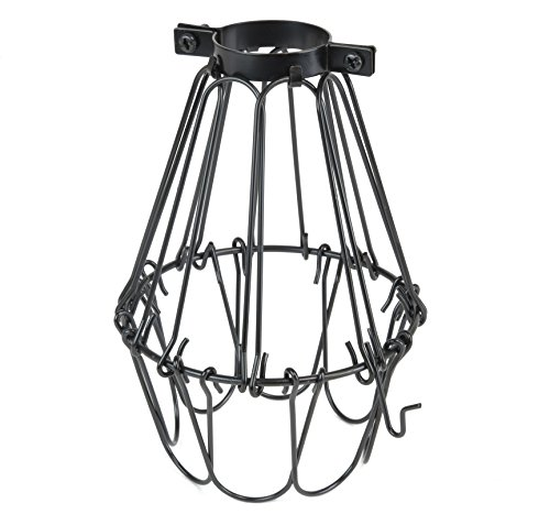 Industrial Vintage Style Black Hanging Pendant Light Fixture Metal Wire Cage , (Black Metal Hanging)