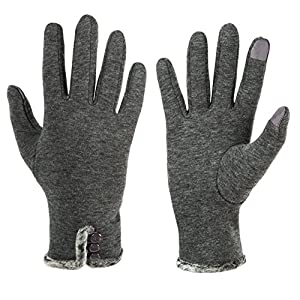 GLOUE Women's Touch Screen Gloves Texting Lined Cashmere Thick Gloves Warm Whether Winter Gloves Driving riding outdoor and indoor fashionable gloves (Grey)
