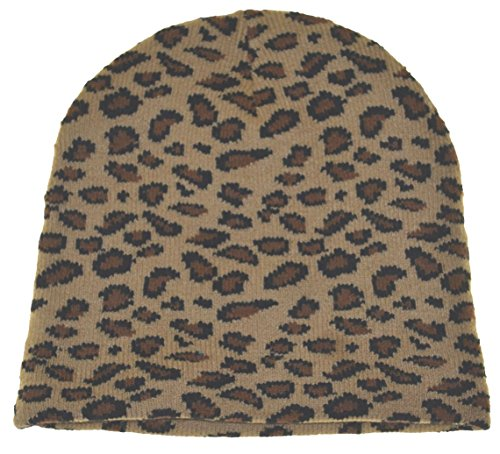 Wild Animal Print Leopard Cuffless Beanie Knit Hat-light Color