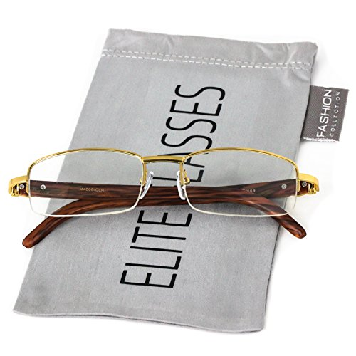 Elite Glasses WOOD Art Nouveau VINTAGE Semi Rimless Style Gangster RICH Frame EyeGlasses (Silver Dark Brown, 2.2) (Gold, 2.2) ()