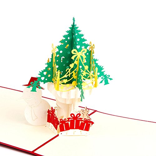 Snowman & Christmas Tree 3D Pop Up Holiday Greeting Cards Handmade Happy Birthday Halloween New Year Thanksgiving Christmas Valentine