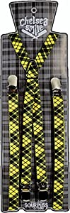 Yellow & Black Plaid Suspenders with Silver Clasps from Sourpuss Clothing