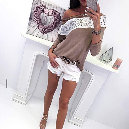 OVERMAL Dcontracte Manches Vetements Sexy Chic Sweatshirts en Haut T Vrac Shirt Automne 1 Mode et t Beige Blouse Chemise Longue Femmes Top wRnwWrE7q
