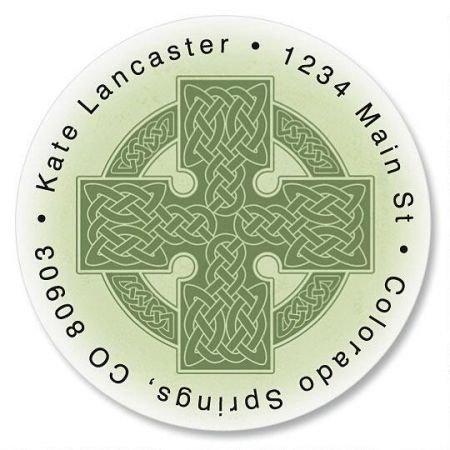 Address Irish Labels - Personalized Celtic Cross Round St. Patrick's Day Address Labels - Set of 144 Self-Adhesive, Flat-Sheet Irish labels