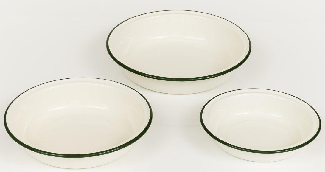 Set of three vintage style enamel pie dishes