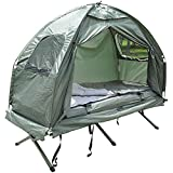 Folding Camping Tent Cot W/Air mattress, Sleeping Bag and Pillow With Ebook