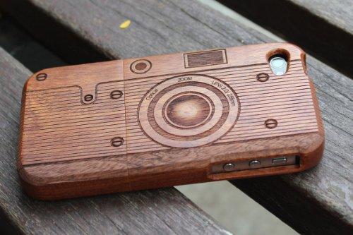 SunSmart Cubierta de la caja de madera hecha a mano Unique Natural de madera duro para el iPhone 4 4S (palisandro y maple) sapele C3