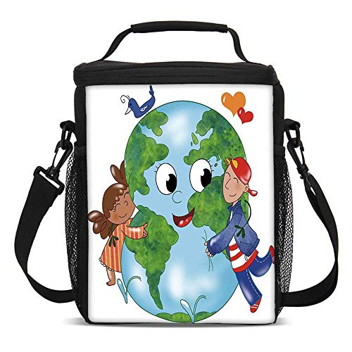 - Earth Fashionable Lunch Bag,Two Cute Kids Hugging Happy Planet Earth Bird and Hearts Embracing in Cartoon Style Decorative for Travel Picnic,One size