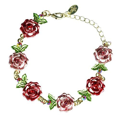 Austrian 24k Plated Crystal Gold (YOUNICE 24k Gold-Plated Rose Flower Link Crystal Accent Gemstone Tennis Bracelet Diamond Bangle Bracelet)