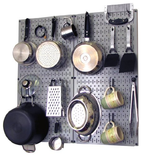 (Wall Control Kitchen Pegboard Organizer Pots and Pans Pegboard Pack Storage and Organization Kit with Grey Pegboard and Black Accessories)