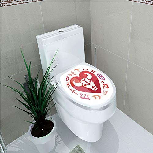 Toilet Sticker,Taurus,Zodiac Sign Bull Personality Western Astrology Human Character Mystic Print Decorative,Dark Coral White,Diversified,W11.8