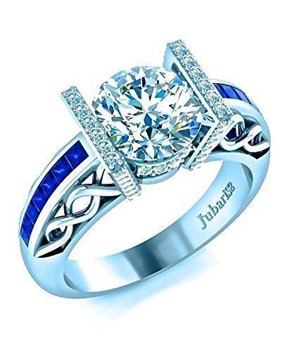 Round Diamond&Blue Sapphire Engagement Ring 1.57 Ctw Contemporary Braided Woven Channel Shank 14K White Gold Jubariss Custom Designer