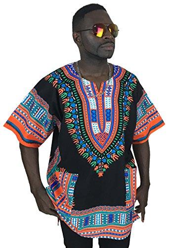 vipada de Dashiki Camisa parte superior africano Dashiki Hombre, color negro y naranja L
