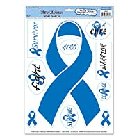 Beistle Ribbon Peel 'N Place Sheet, 12 by 17-Inch, Blue/White/Black