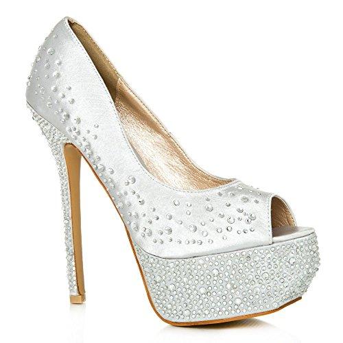 silver Diva Con Tacón Satin Mujer Zapatos Plateado Miss nUwqAagCg
