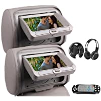 OukuGrey Gray Color Pair of Headrest Pillow 7 LCD Car Monitors with Region Free DVD player USB SD Wireless Dual Channel Headphones and 32 Bit Games and Zipper Cover