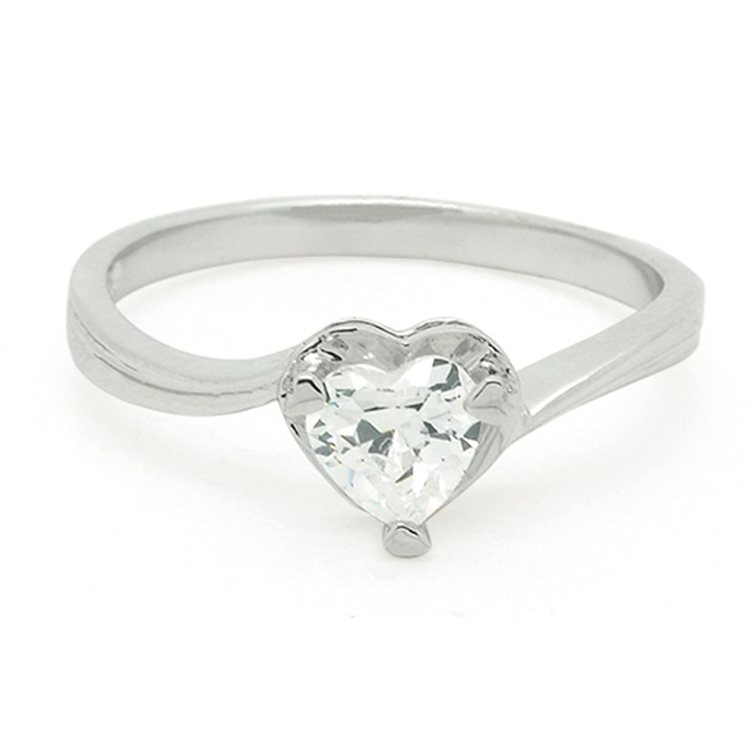 Ring Stainless Round Cut CZ Bold High Polish Womens Size 5-10
