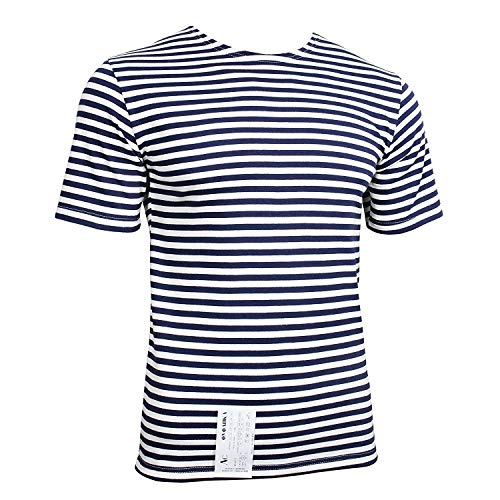 Genuine Russian Navy Blue Striped Short Sleeved T-Shirt Top (48
