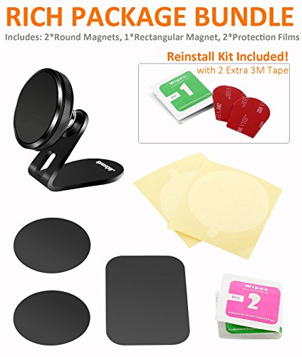Magnetic Car Phone Holder, Jebsens CM05 Universal 360 Rotation Magnetic Car Phone Mount Holder Metal Car Dashboard Cell Phone Stand Holder for iPhone X, 8, 8Plus, 7, 6S, Galaxy S8, Mini Tablets Black by Jebsens (Image #6)