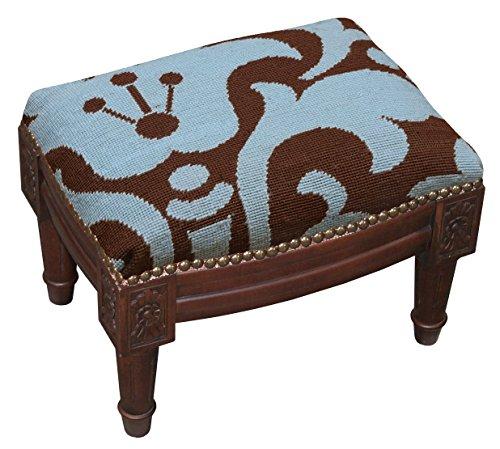 SketchONE Wool Needlepoint Upholstered Footrest, Damask, Blue/Brown