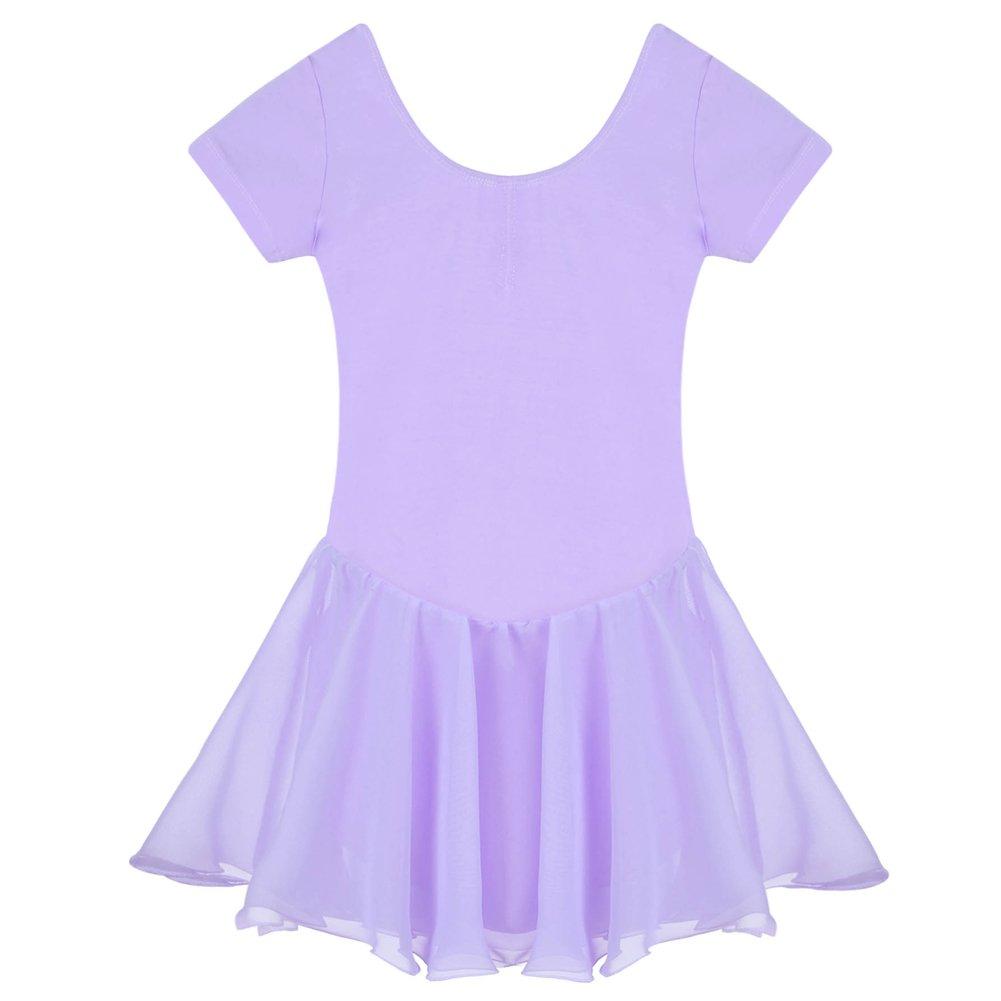 zaclotre Girls '半袖スカートレオタード B0788M9RRD 130(Age for 5-6Y)|パープル パープル 130(Age for 5-6Y)