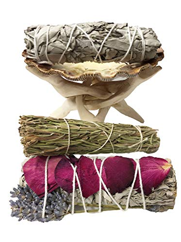 TOMOKO White Sage Smudge Kit - 1 White Sage with Rose and Lavender, 1 White Sage, 1 Rosemary Smudge Stick, 1 Lion Paw Shell! Healing, Purifying, Meditating, Incense & Cleansing