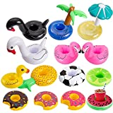 Inflatable Drink Holder, R.HORSE Drink Pool Floats Cup Holder Floats Inflatable Floating Coasters for Pool Party with Fluorescent Wristband (14 Pack)