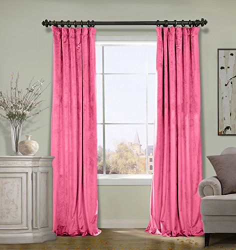 COFTY Super Soft Solid Matt Luxury Velvet Curtain Drapes with blackout lining Rose 50Wx72L Inch (1 Panel)-Flat Hooks Heading Theater| Bedroom| Living Room| Hotel | Classroom (Solid Black Denim Drapes)