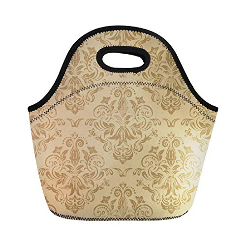Semtomn Lunch Bags Pattern Beige Floral Damask Victorian Wall Antique Baroque Classical Neoprene Lunch Bag Lunchbox Tote Bag Portable Picnic Bag Cooler Bag