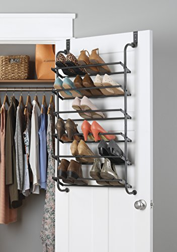 Whitmor 6 Shelf, Over The Door Shoe Rack, Gunmetal
