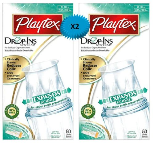 Playtex Drop-Ins Pre-Sterilized Disposable Liners 8-10 OZ: 50 Count (PACK OF 2)