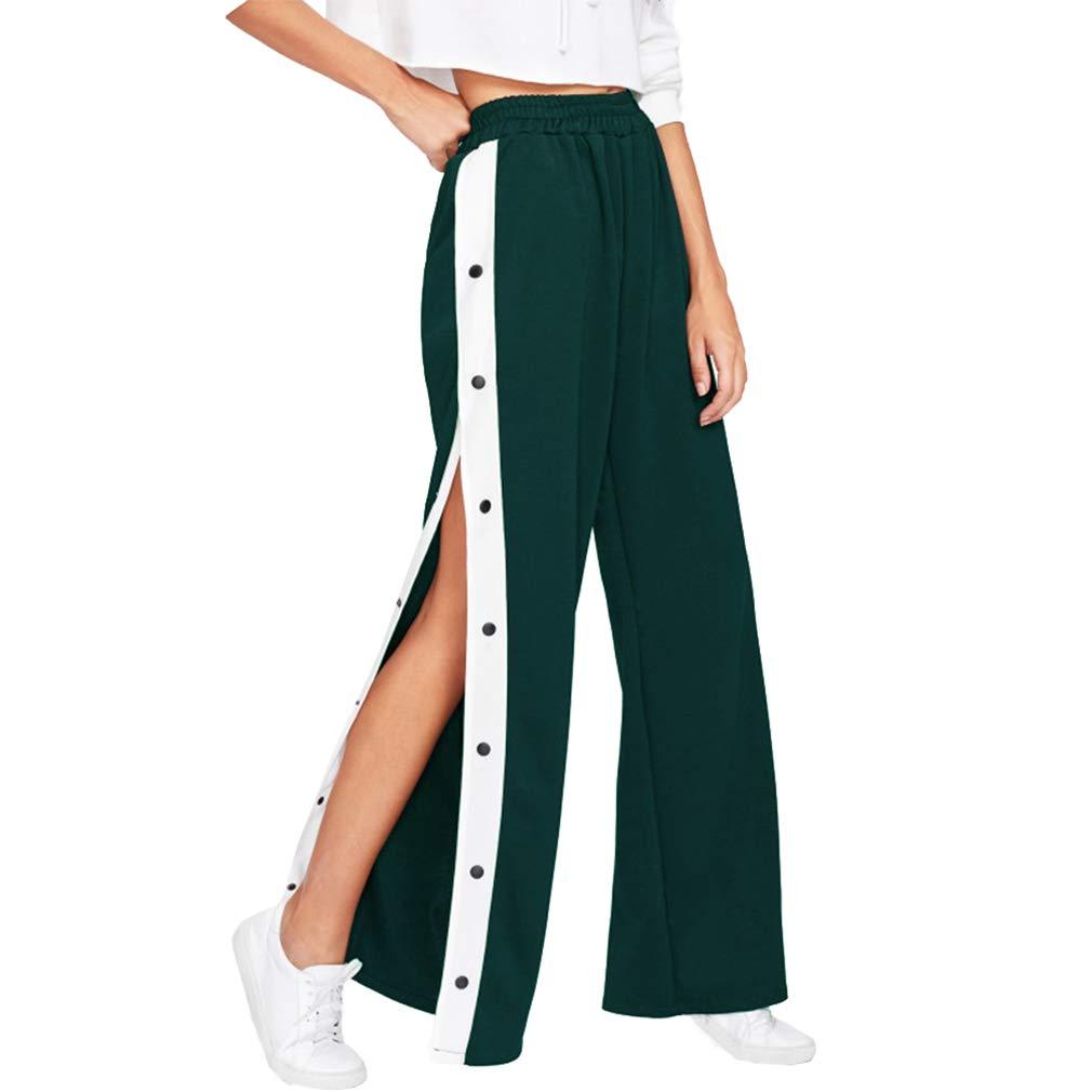 Donna Pantaloni A Vita Alta, Elegante Gamba Larga Pantaloni Lunghi con Bottoni Comodi Pantaloni in Vita Elastica Casuale Loose Fit Pantaloni Streetwear S-XL